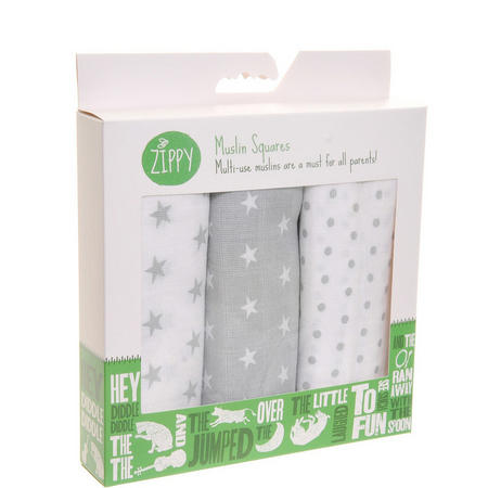 Three-Pack Muslin Cloths Grey