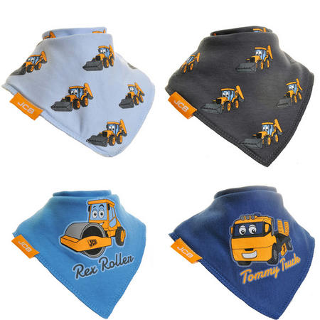 Four-Pack JCB Dribble Bibs Blue
