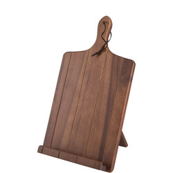 Acacia Tablet Stand With Grooves & Leather Tie