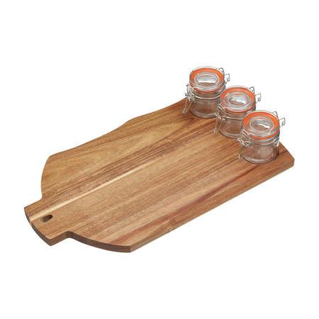 Artesa Wooden Serving Set w/ 3 Glass Pots Brown