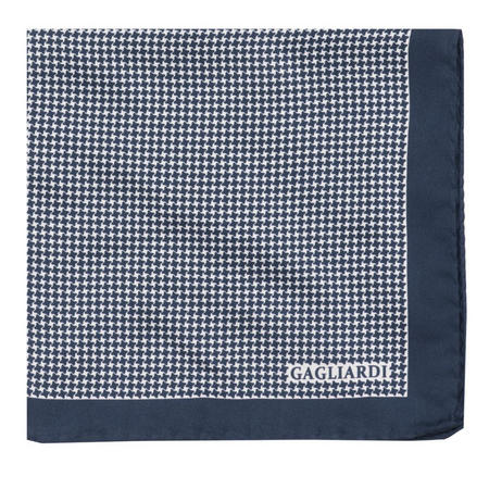 Puppytooth Pocket Square Navy