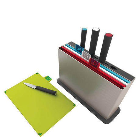 Index With Knives Colour-Coded Chopping Board And Knife Set