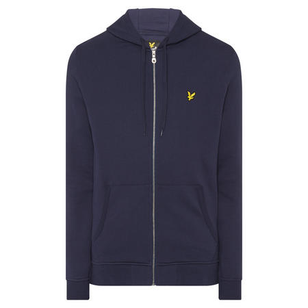 Zip Through Logo Hoody Navy