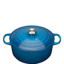Signature Cast Iron Round Casserole 26 cm Blue