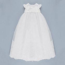 Embellished Bottom Christening Gown & Hat White