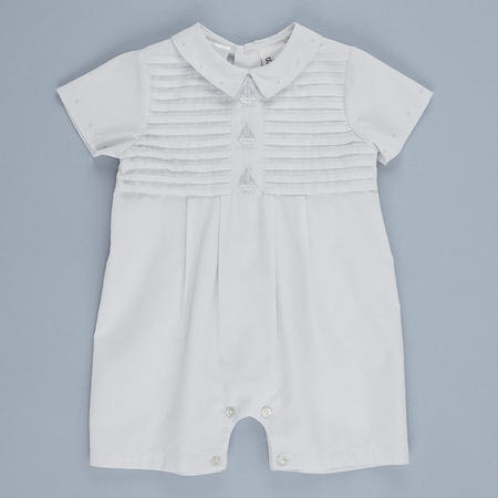 Striped Boys Christening Outfit & Hat Blue