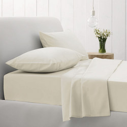 500Tc Cotton Sateen Fitted Sheet Chalk