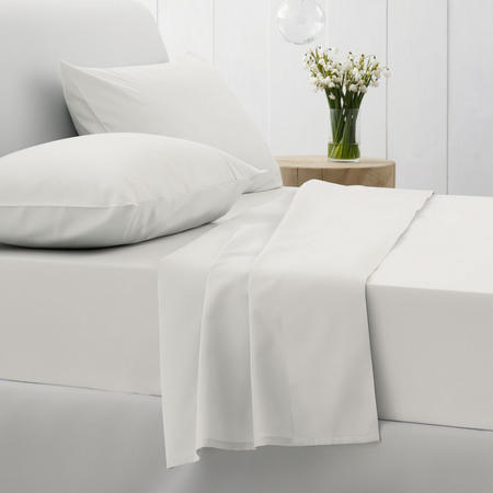 500Tc Cotton Sateen Fitted Sheet Snow
