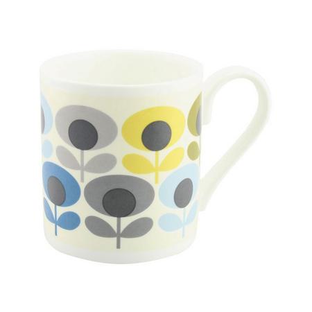 Multi Flower Oval Mug  Blue