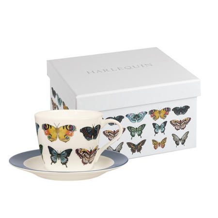 Harlequin Papilio Set Of 4 Espresso Cups And Saucers