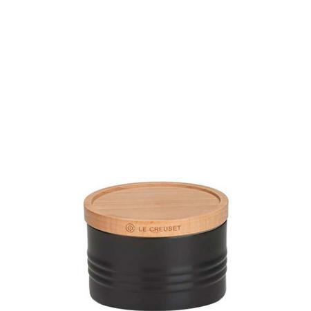 Stoneware Small Storage Jar With Lid Black
