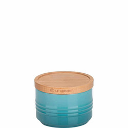 Stoneware Small Storage Jar With Lid Teal