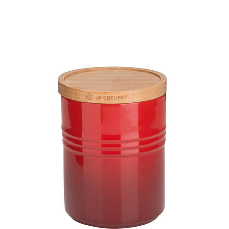 Stoneware Medium Storage Jar With Lid Cerise