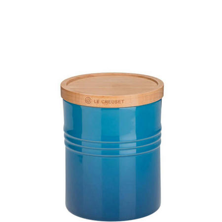 Stoneware Medium Storage Jar With Lid Blue
