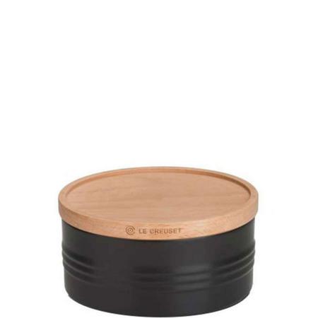 Stoneware Large Storage Jar With Lid Black