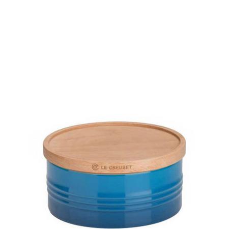 Stoneware Large Storage Jar With Lid Blue