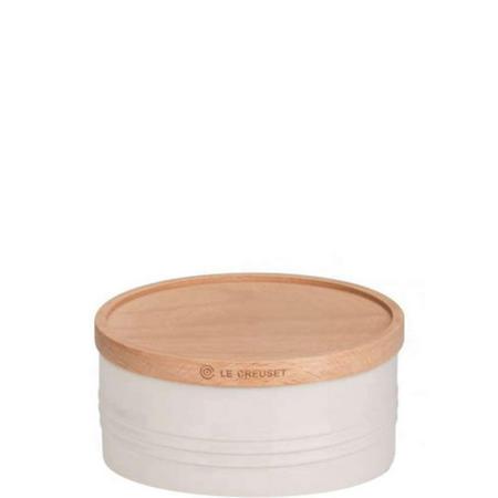 Stoneware Large Storage Jar With Lid Cream