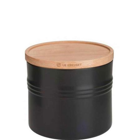 Stoneware XLarge Storage Jar With Lid Black