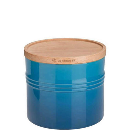 Stoneware XLarge Storage Jar With Lid Blue