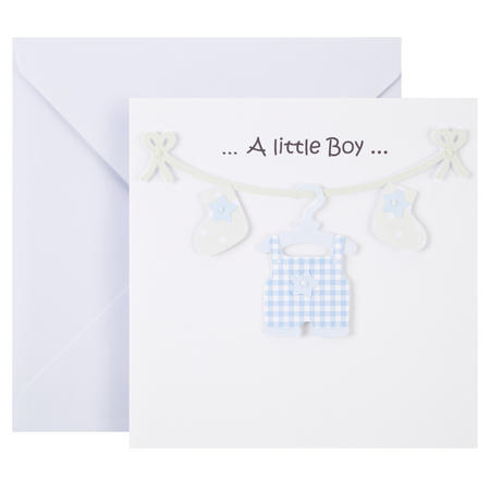 Baby Boy Clothes Line Card White