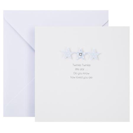 Baby Boy Stars Card White
