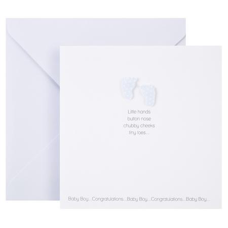 Baby Boy Footprint Card White