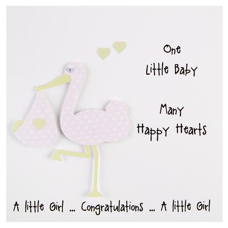 New Baby Girl Stork Card White