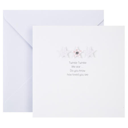 Baby Girl Stars Card White