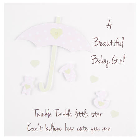 New Baby Girl Umbrella Card White