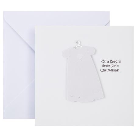 Christening Card Girl White