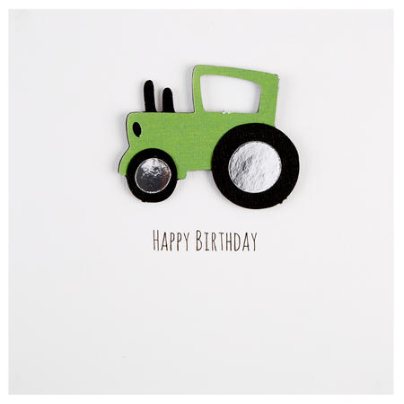 Happy Birthday Tractor Card White