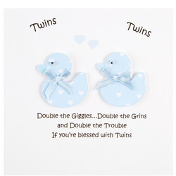 Twin Boys Duck Greeting Card White