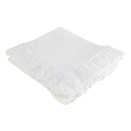 Lace Frill Christening Shawl White