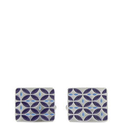 West End Retro Enamel Cufflinks Dark Blue