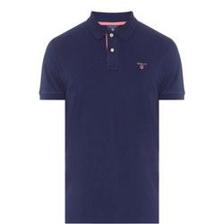 Contrast Collar Polo Shirt Mid Blue