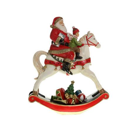 Santa Rocking Horse Decoration 32cm