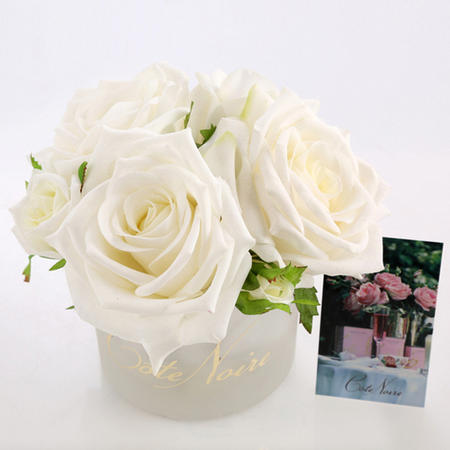 Perfumed Natural Touch 5 Roses in White Box- Ivory White Diffuser