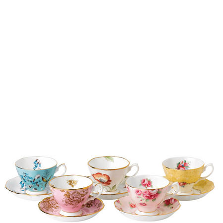 100 Years Cup & Saucer 5 Piece Set