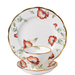 100 Years of Royal Albert Poppy 1970 Teacup & Saucer Plate 20cm  Multicolour