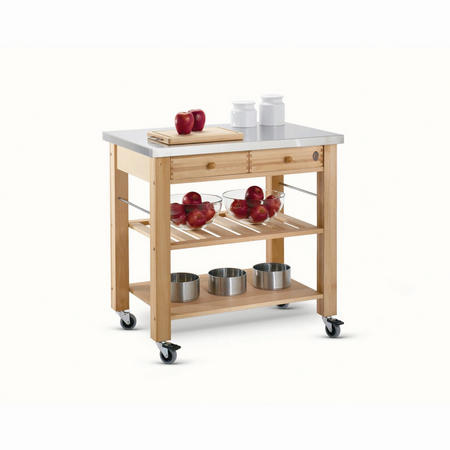 Two Drawer Lambourn Trolley With Stainless Steel Top