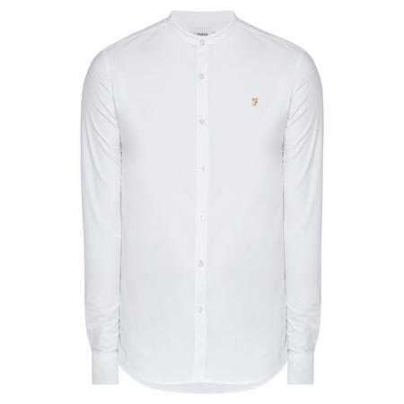 The Brewer Grandad Long Sleeve Shirt White