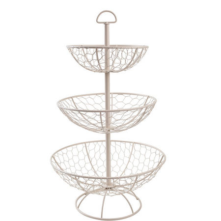 Provence 3 Tier Basket In Cream Wireware
