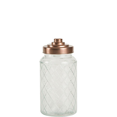 Large Lattice Glass Jar With Copper Finish Lid