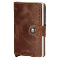 Vintage Card Protector Mini Wallet Dark Brown