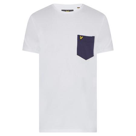 Contrast Pocket Crew Neck T-Shirt White