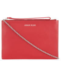Top Zip Leather Wristlet Red
