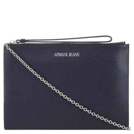 Top Zip Leather Wristlet Navy
