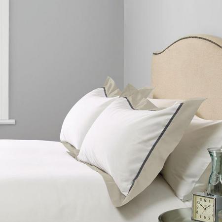 Padova Border Egyptian Cotton 400 Thread Count Oxford Pillowcase Grey
