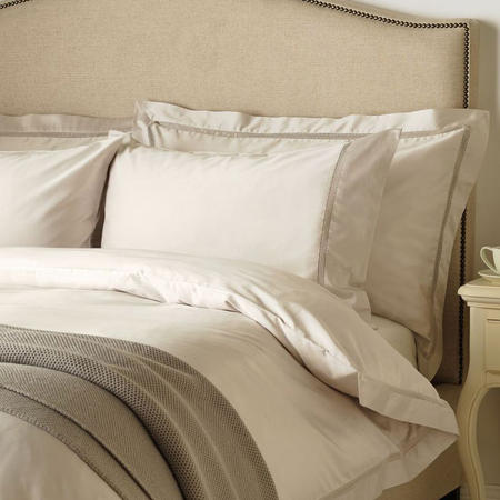 Garda Lattice Stitch Egyptian Cotton 400 Thread Count Oxford Pillowcase Pale Grey