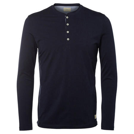 Split Neck Long Sleeve T-Shirt Navy